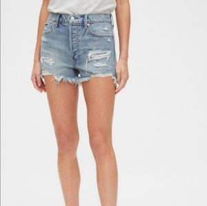 GAP High Rise Destructed Denim Shorts